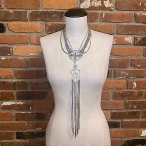 WHBM Silver tone Crystal Waterfall Necklace